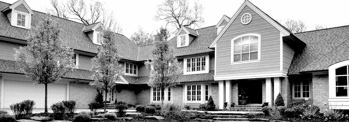 black and white image of house