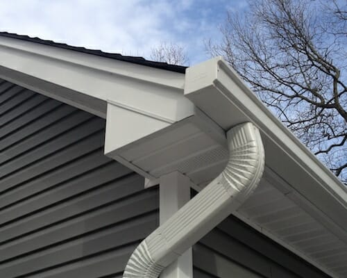 gutter on corner of house