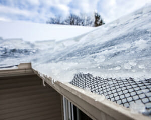 ice dam building on roof of house