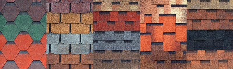 5 different blocks of asphalt shingles, each with different formats, textures, and colors